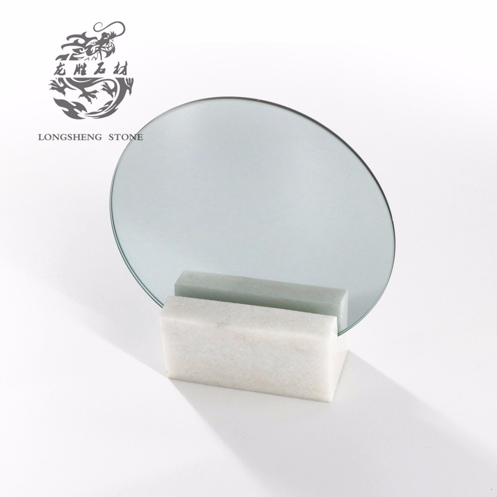 Table Stand Mirror With Stone Base And
