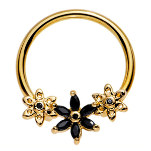 Gold Anodized Steel Pink Jet Clear CZ Daisy Flower Chain Captive Nipple Ring