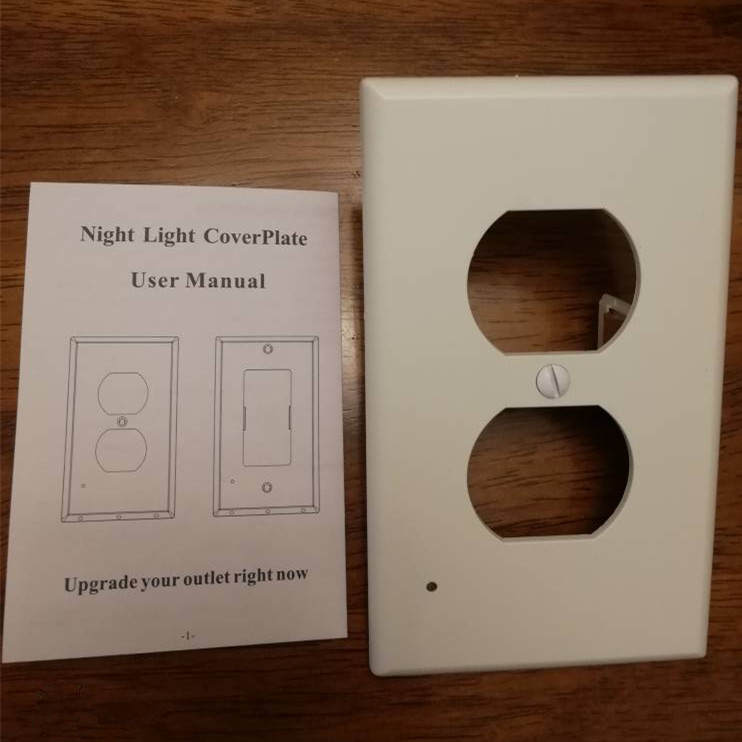 White light Angel Outlet Wall Plate 2-in-1 Outlet Cover &LED Night Light