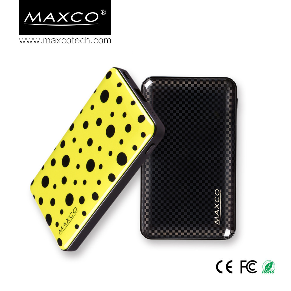 MAXCO Carbon fiber element IML technology lithium polymer power bank charger with LED indicators powerbank 10000mah