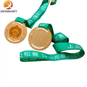 Zinc alloy sport custom trophies metal medal with ribbon