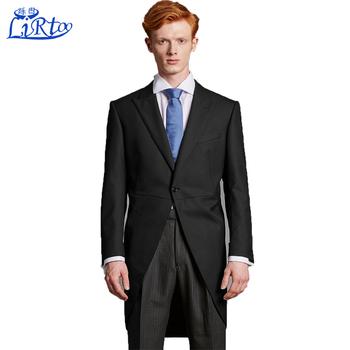 Top Exquisite Men Wedding Black Dress Coat Tails Suit