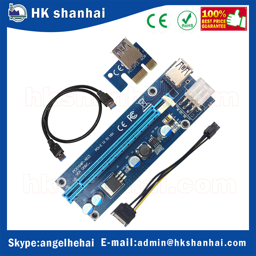 New wholesale 6pin riser pci-e x1 x16 express riser card USB 3.0 extender cable with Sata to 6pin power cable for bitcoin mining
