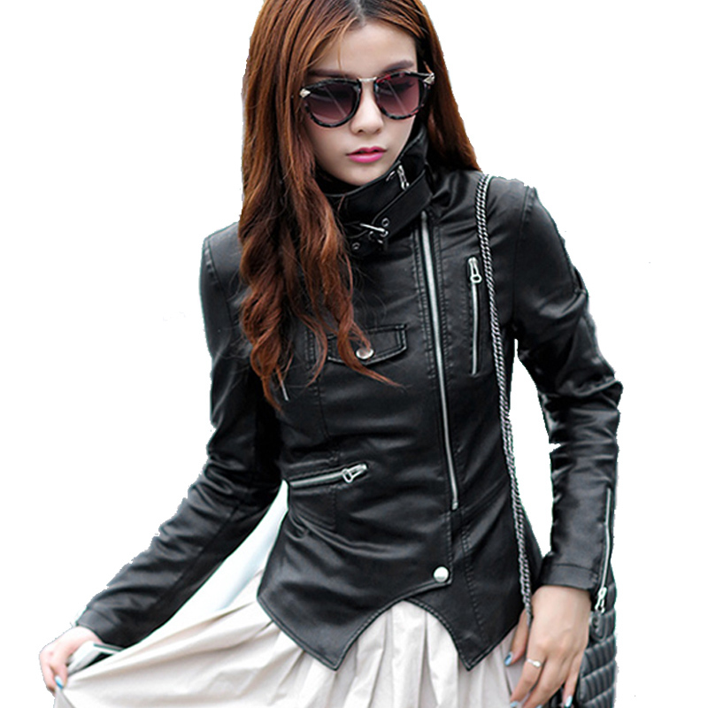 women leather jackets outwear coat Feminino Jaqueta couro 2015 Spring Women Brand Rivet Zipper Faux Pu Leather Motorcycle Jacket