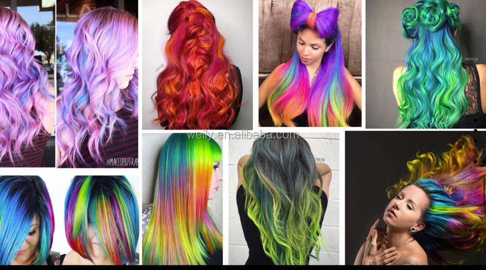Semi Permanent Neon Haar Farbe Grun Glowing In Schwarz Licht In Uv