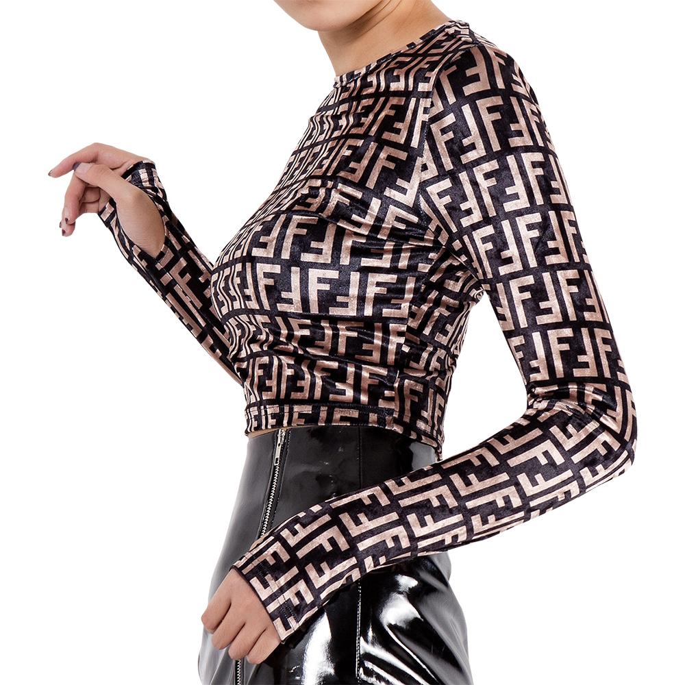 7311e6b9eea12 Custom Ladies Shirt Fancy Women Printed Long Sleeves Round Neck Bodycon  Stretch Velvet Crop Tops Blouses