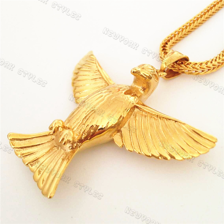 dd1add3c9ad Buy Solid Men  39 s Stainless Steel Flying Eagle Pendant Necklace w 3mm  24 quot inch Franco Chain Hip hop 24K Gold Plated Necklace in Cheap Price  on ...