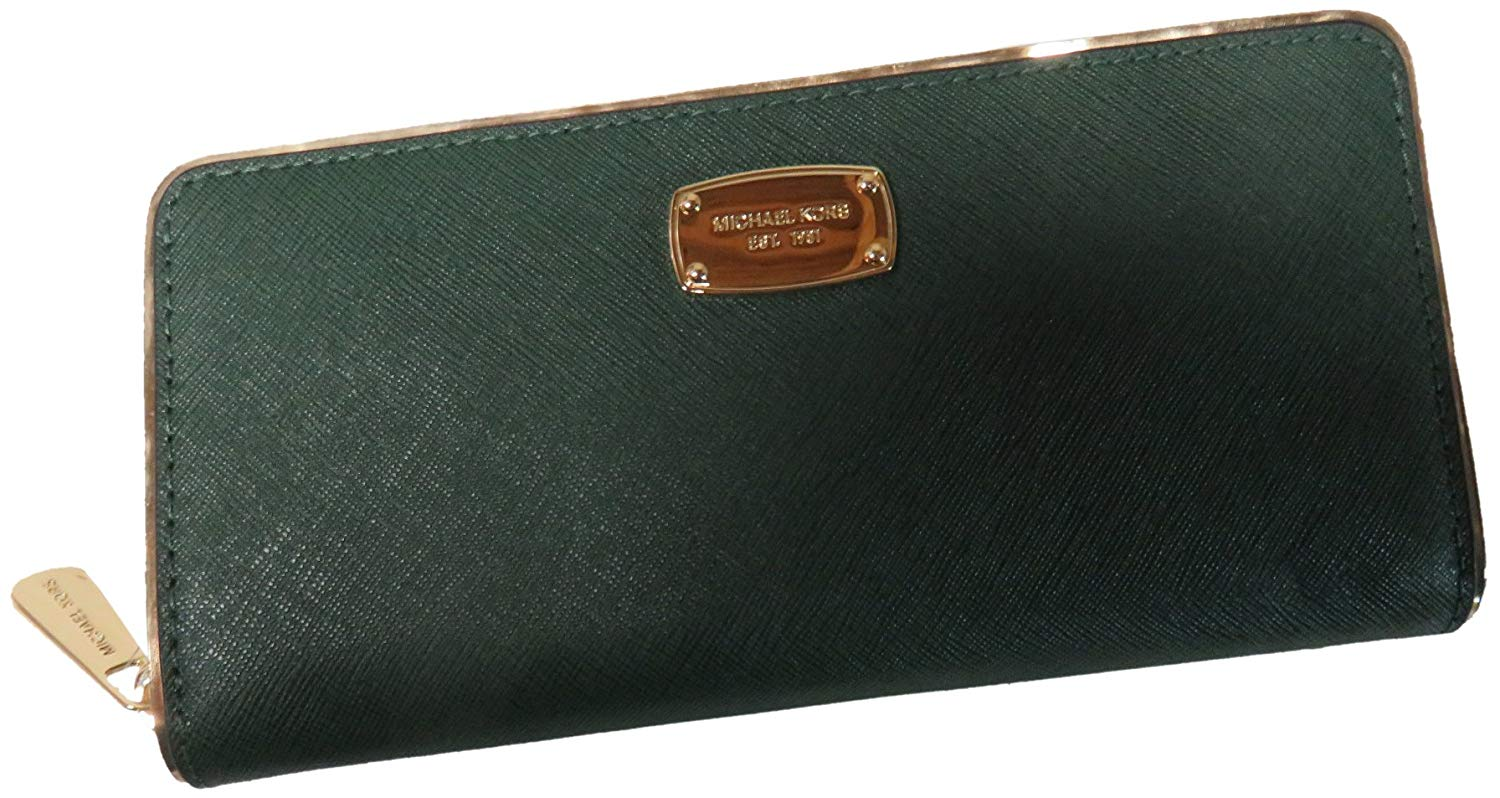 Micheal Kors Zip Around Continental Saffiano Leather Frame Wallet Moss