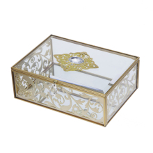 Metal frame decorative crystal glass jewelry box