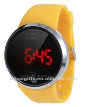 gele band siliconen led <span class=keywords><strong>aanraking</strong></span> <span class=keywords><strong>horloge</strong></span> gloed in het donker <span class=keywords><strong>horloge</strong></span>