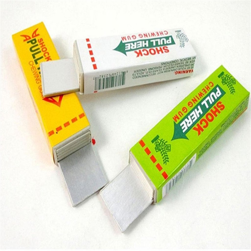 Acamifashion Shock Chewing Gum,Safety Trick Joke Toy Electric Shock Shocking funny Pull Head Chewing gum Gags