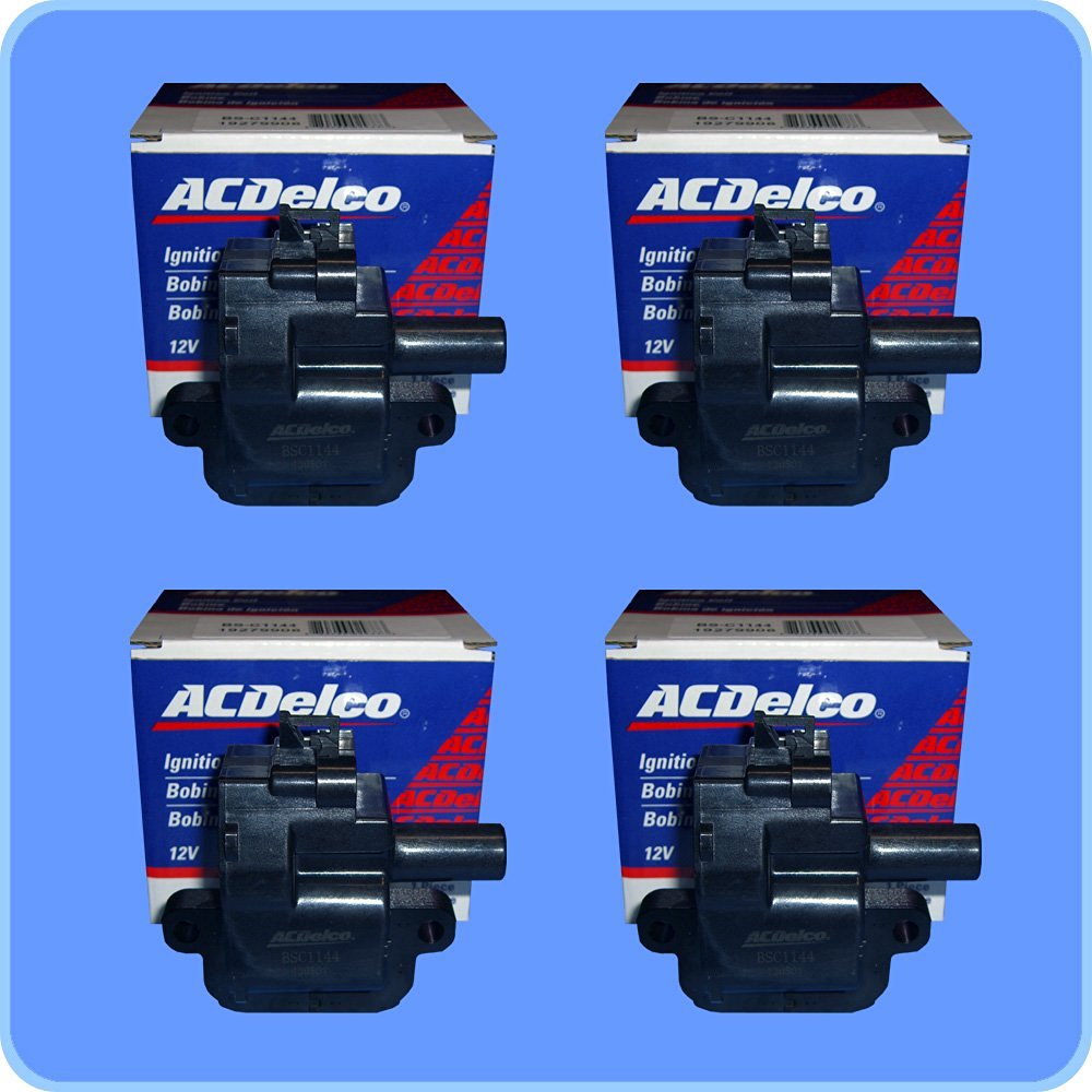 New OEM Ignition Coil & Connector Set (4 OEM Ignition Coils + 4 AD Auto Parts Connectors (Pigtails) For LS1 LS6 Engines