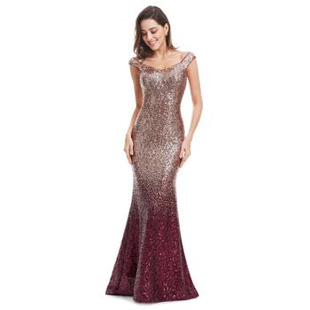 9a4f695cf2 2017 Nuevo cuello en V damas elegante lentejuelas sirena noche Maxi vestido  de fiesta vestidos