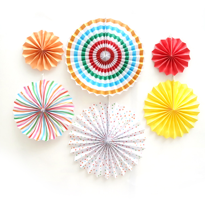 Party supplies 6pcs colorful stripe paper folding <strong>flowers</strong> for decoration