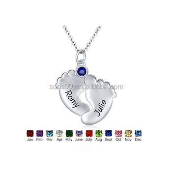 Wholesale personalized mother jewelry engraved baby feet names wholesale personalized mother jewelry engraved baby feet names pendant necklace aloadofball Gallery