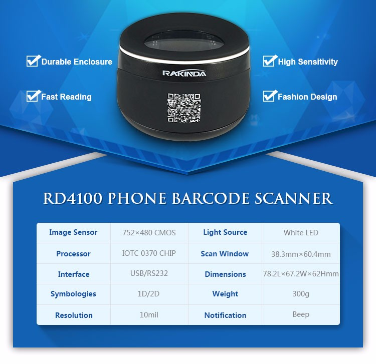 NEW ARRIVAL 1D 2D Desktop Mobile Phone Screen Barcode Scanner 2D for App Payment