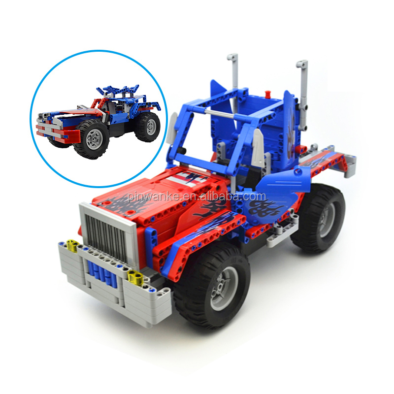 RC Truck 2 in 1 Building Blocks Kits 2.4Ghz Rechargeable R C Electric Truck Vehicle Buildable Toys Construction Bricks Set