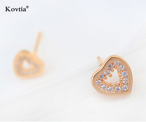Heart earrings jewelry fashion not free jewelry samples free shipping real gold plated zircon stud earrings