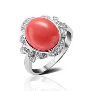 Fancy model design silver engraved red coral stone ring