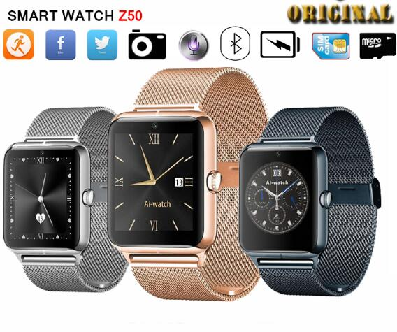 Metal Bluetooth Smart Watch Phone Z50 Wristwatch with <strong>SIM</strong>+TF Card Slot NFC Phone Call Reminder Compatible with iOS Android Phone