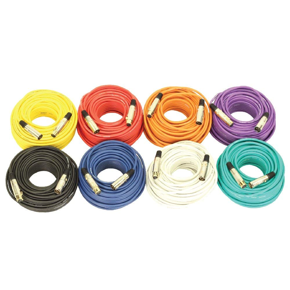 Seismic Audio SAPGX-100Multi 100' Multi Colored Gold Plated XLR Mic Microphone Patch Cables, 8 Pack