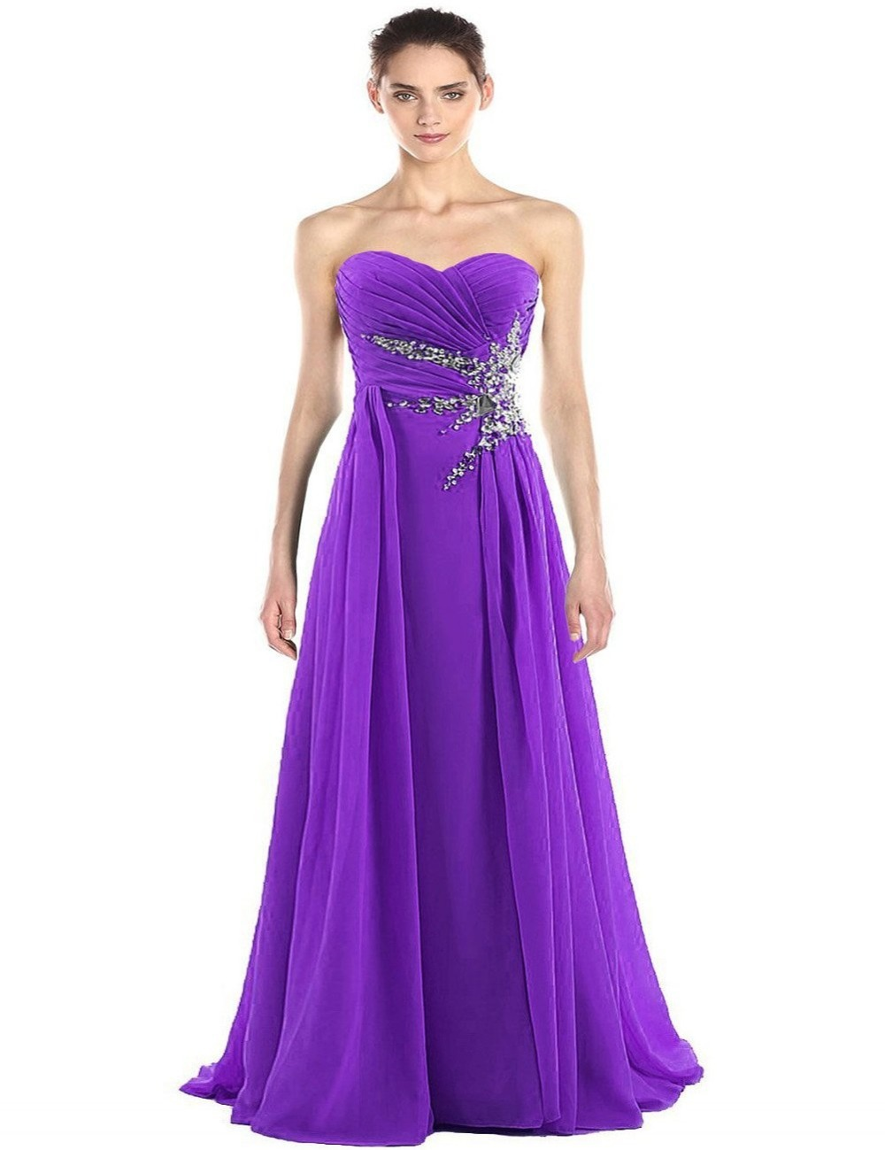 1f9d1737db Sweetheart Customize Free Shipping Stunning Beaded Floor Length Purple Chiffon  Sequin Celebrity Prom Party Bridesmaid Dress