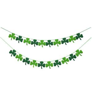 Felt Shamrock Clover Garland Banner Flags Irish Day Party Supplies Green and Light Green Color Good Lucky Decorations