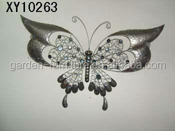 Xy10080 mariposa de metal de hierro forjado artesan as for Adornos pared metal