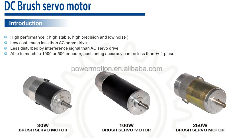 60w 24vdc Brush Servo Motor High Speed 3000rpm Low Cost
