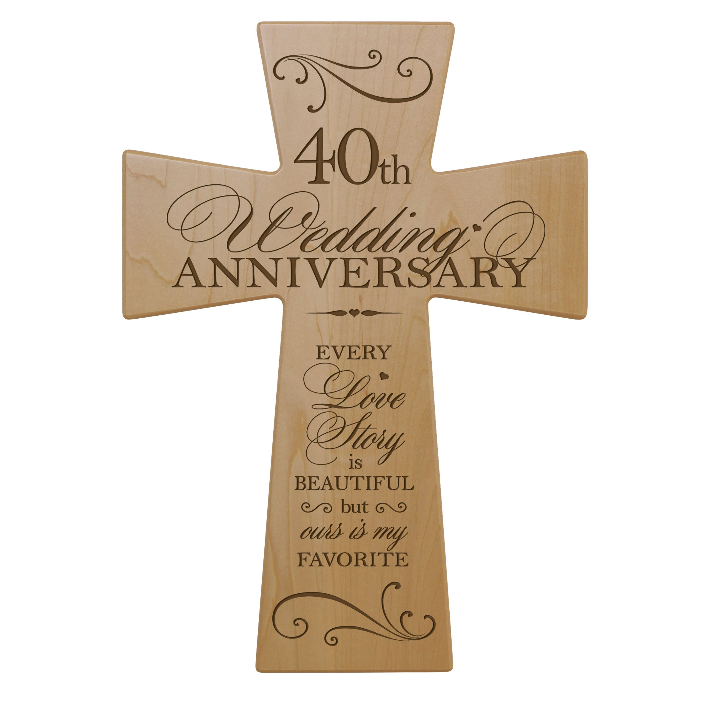 Buy 40th Wedding Anniversary Maple Wood Wall Cross Gift For Couple