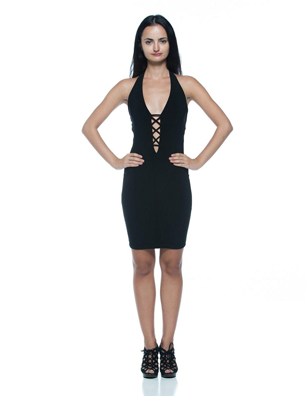 05a2b952a1 Get Quotations · Women s Black Cage Cutout Plunge Low-Cut Neck Halter  Bodycon Club Party Dress