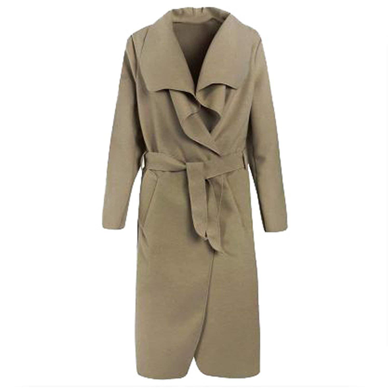 490ef51f54bf9 Get Quotations · Feroni New Winter Coat Women Wide Lapel Belt Pocket Wool  Blend Coat Oversize Long Red Trench