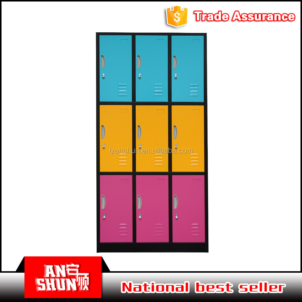 colourful customized metal locker cabinet 9 doors bathroom gym office clothing locker
