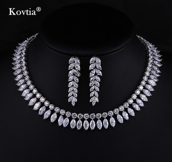 2017 Zircon Jewelry Natural White Wedding Jewellery Set Cubic Necklace Earrings