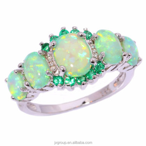 Fashion Green Fire Opal 925 Sterling Silver Ring Engagement Ring Jewelry Manufacturer China
