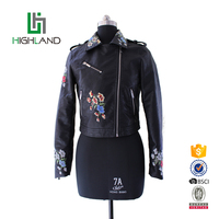 Hot sale custom slim PU leather ladies jacket embroidered women motorcycle jacket