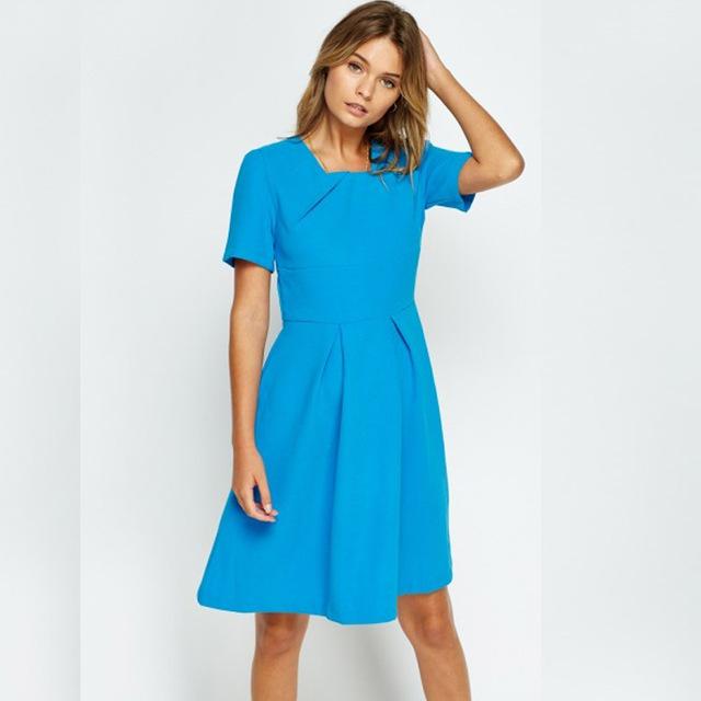 Women S Clothing 2018 Elegant Evening Latest Fashion Dresses Short Sleeve One Piece Casual Blue Color Dress