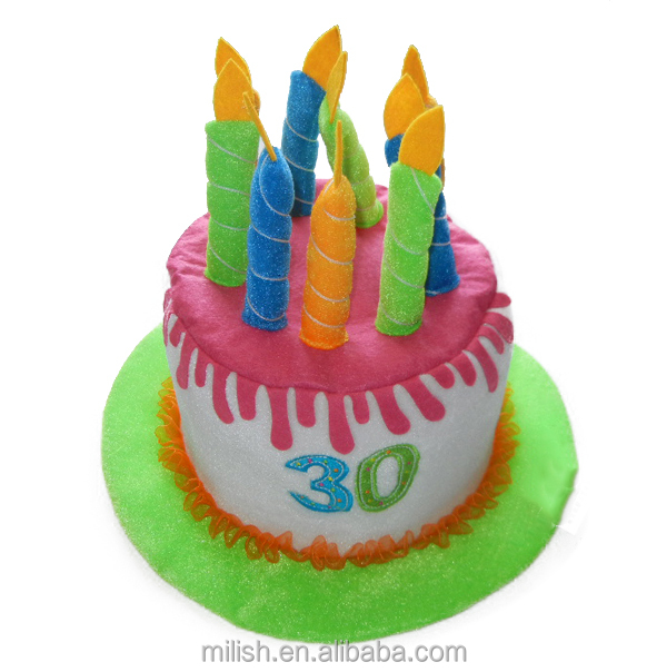 W853 Fancy Party Happy 30th Birthday Candle Cake Shaped Hat