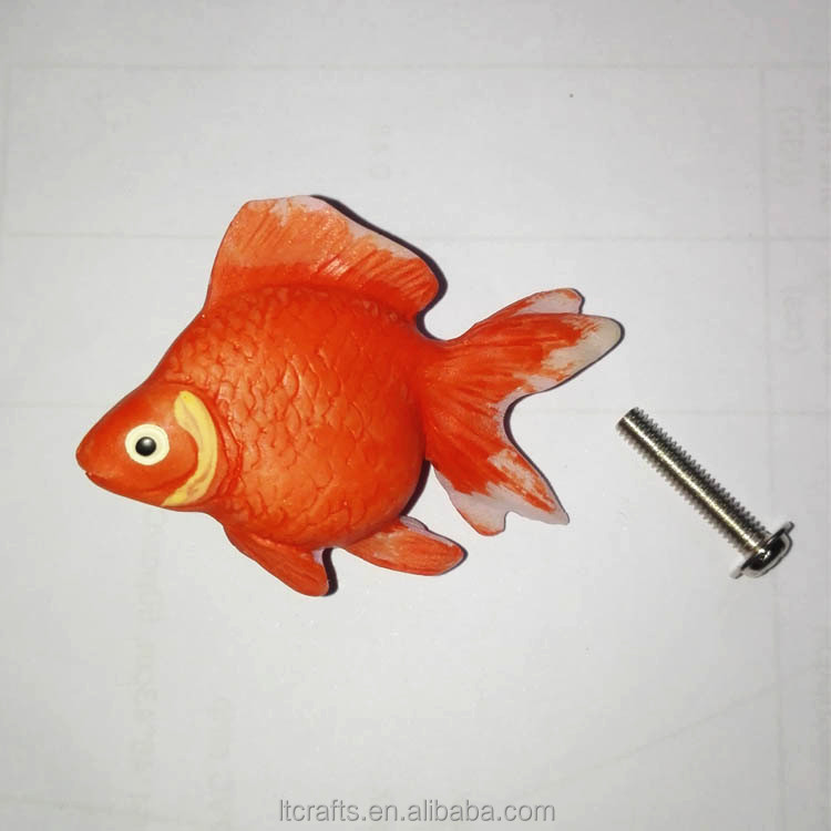 Child Cartoon Colour Goldfish Kitchen Cabinet Resin Drawer Handle