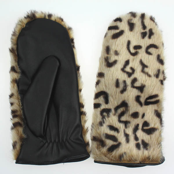Women's mitten leather gloves with fake fur