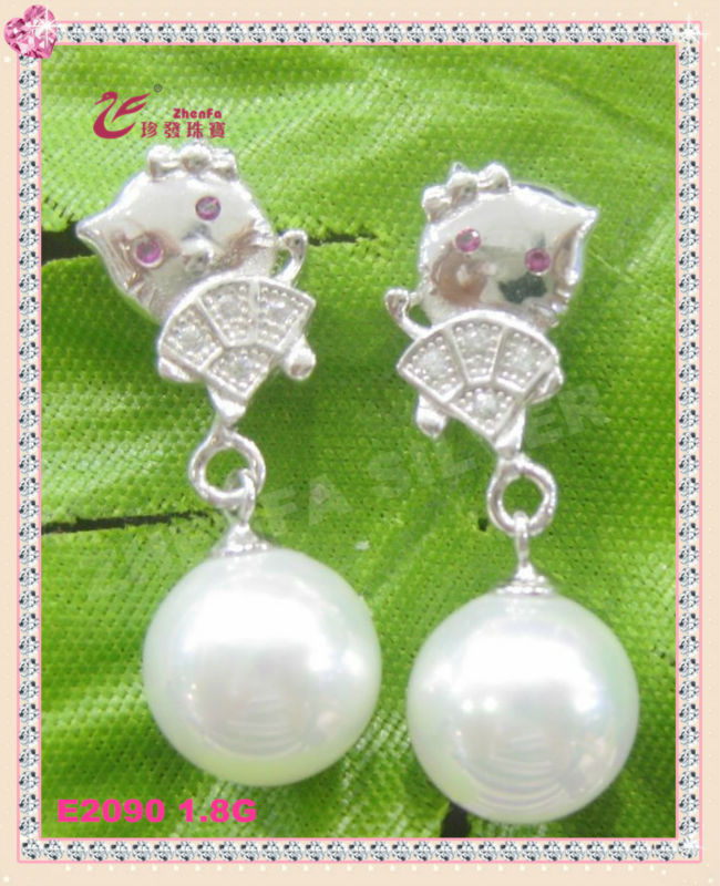 2014 new design jewelry 925 Sterling silver frienship lovely cat pearl earring