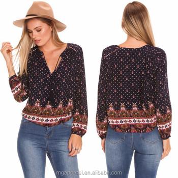 Latest Design Long Sleeve Brazil And Chile Fashion Ladies Top With ...