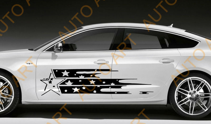 Vinyl graphics body stickers star car side decals