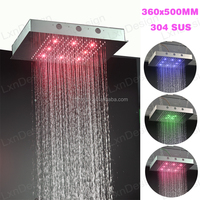 360*500mm in wall mounted bath & shower faucet,shower set with led rain shower and massage body jets