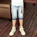 2016 hot summer design light blue star printed kids short pants boys elegant jeans denim shorts