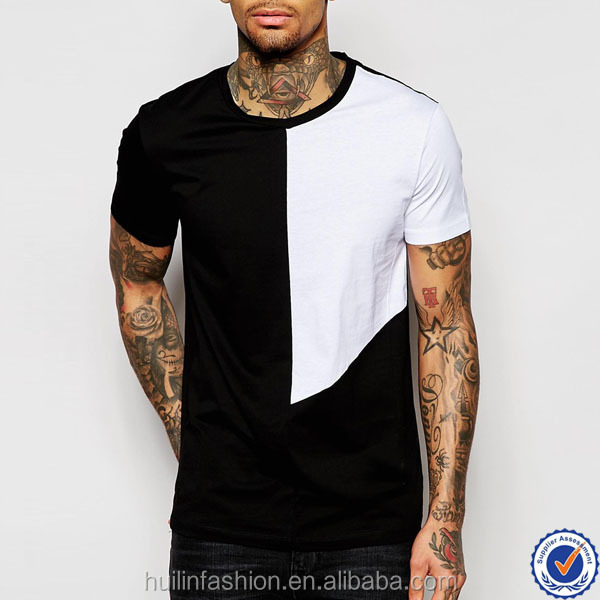 buy direct from china manufacturer 100% cotton round neck square contrast panel design t shirt
