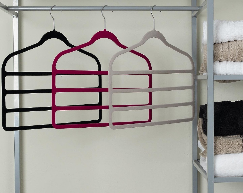 Inspring Velvet Slack Racks with Hanging Bars, Pink