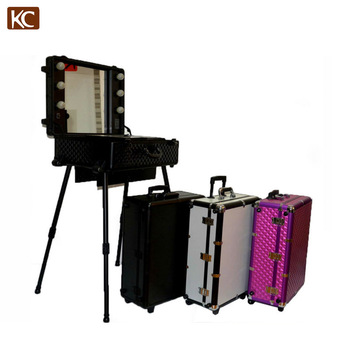 Professional Makeup Trolley Luggage Case lighted professinal makeup cases, make up case with light mirror