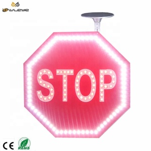 Traffic safety LED flashing Solar powered STOP traffic sign