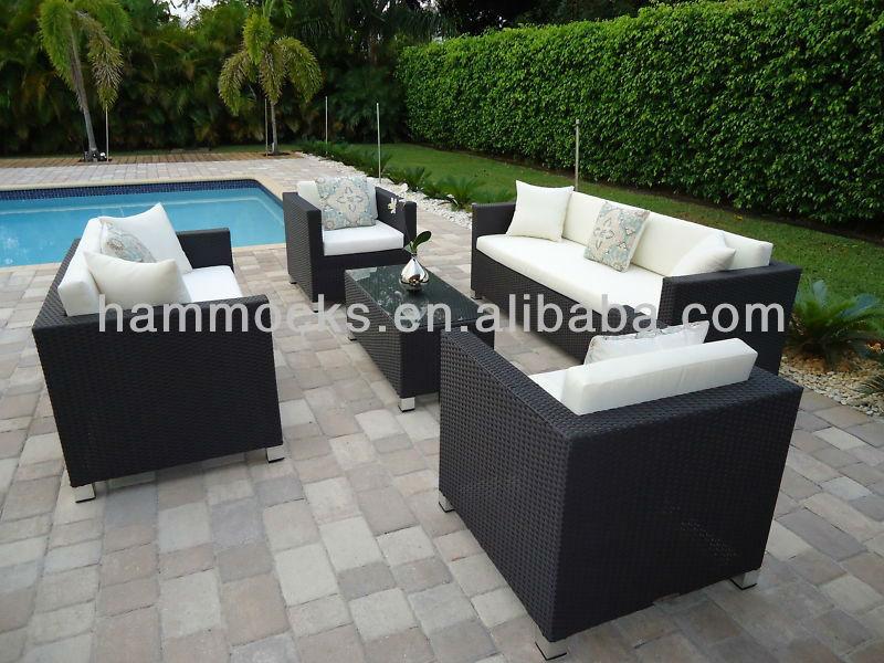 Modern xl p tio sala conjunto de sof s vime ao ar livre for Sofa exterior jardim